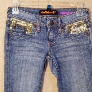 Dollhouse Sequin Embellished Flare Leg Jeans